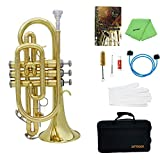 ammoon Bb Flat Brass Cornet Trumpet with Carrying Case Gloves Cleaning Cloth Grease and Brushes