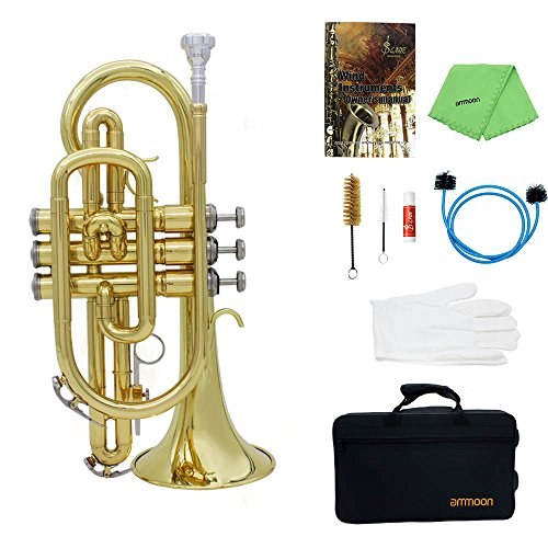 ammoon Bb Flat Brass Cornet Trumpet with Carrying Case Gloves Cleaning Cloth Grease and Brushes by ammoon