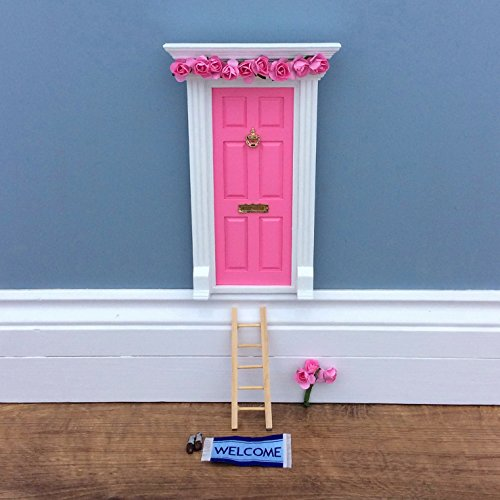 Fairy Door - Best Vintage Rose Bubblegum Pink Magic Door and Ladder Set for Kids Room Perfect for Bringing Fun, Adventure and Magic to Your Home by Magical Little World (Image #4)