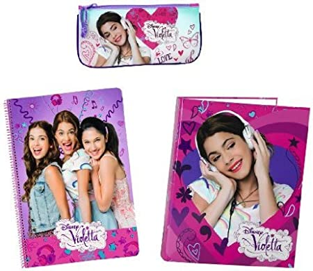 Violetta Set Escolar 3 Piezas, Estuche, LIBRETA Y Carpeta A4: Amazon.es: Equipaje