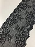 Black Floral Lace | 7.5 Inch X 5 Yards | Gorgeous