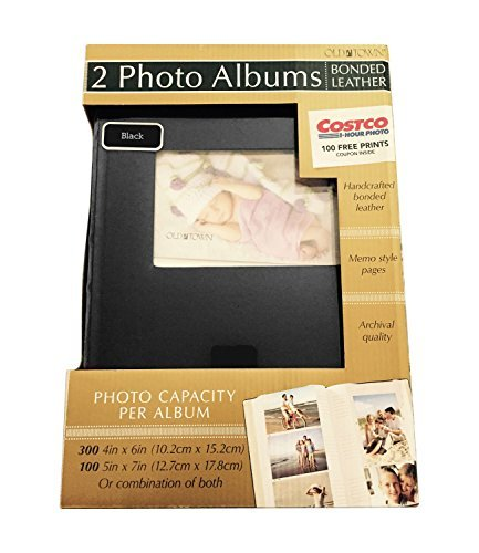 - 2-Pack Bonded Leather Photo Album Holds 300 Photos Each - Black
