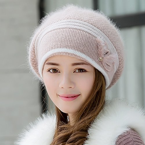 NWEC NEWC Hat Female Winter Outdoor Thick Warm Ear Duck Tongue Knit Wool Hat Cap 56-58cm Ray Limpets,Its Color and Color