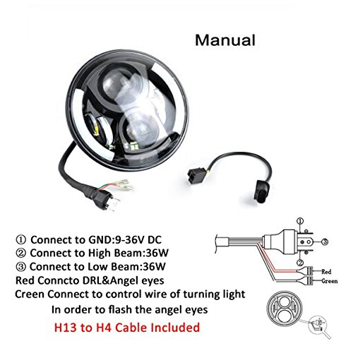 KAWELL JK Jeep Wrangler 7 Inch Round LED Headlight White ...
