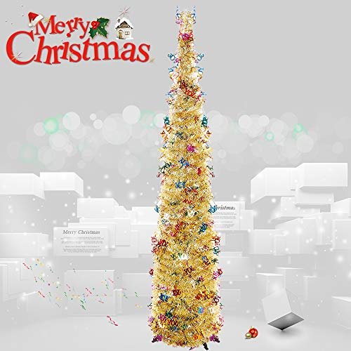 Joy&Leo 5 Foot Pop Up Joy Sequin Silver Tinsel Christmas Tree, Easy to Assemble, for Small Spaces & Apartment & Fireplace & Party & Home & Office & Store & Classroom & Xmas Decorations (Best Way To Store Artificial Christmas Tree)