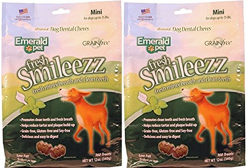 (2 Pack) Fresh Smileezz Dog Grain Free Dental Treat Mint (Mini - 12 oz. Per Pack)