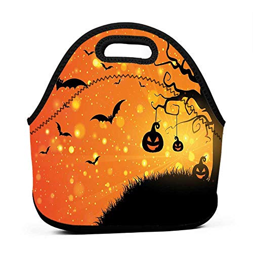 Large Size Reusable Lunch Handbag Halloween,Magical Fantastic Evil Night Icons Swirled Branches Haunted Forest Hill,Orange Yellow Black,back pack lunch bag for kids ()