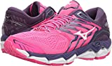 Cheap Mizuno Women's Wave Horizon 2 Running Shoe, Pink Glo/White, 9 B US
