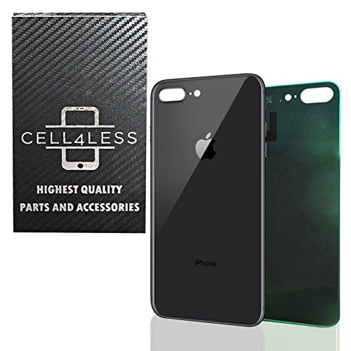 Back Glass Cover OEM Battery Door Replacement w/Adhesive & Removal Tool for Apple iPhone 8 Plus (Space Gray)