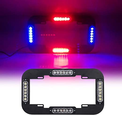 "Emergency Lights for Vehicles LED Red Blue Police Lights for Car, 18 Flash Modes 13.5"" Strobe Warning Hazard License Plate Lights with Black Frames"