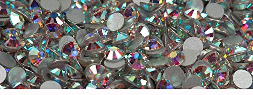 1440pcs ss8 (2.4mm) Crystal AB, Preciosa Genuine Czech Crystals new VIVA12 MC Chaton Rose Flatbacks, 12-Faceted Viva Rhinestone Roses, 8ss Clear Coated with Aurora Borealis, nail art