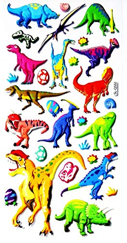 NipitShop 1 Sheet Dino Dinosaur Animal Cartoon Foam Sticker Wall Decals DIY Combination Multicolored Vinyl Stickers for Girls Room Nursery Bedroom Kids Room Decor -
