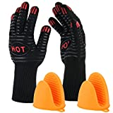 "BBQ Gloves with Ebook - ISUDA 932°F Extreme Heat Resistant 14"" Long Forearm Protection Grilling Cooking Gloves - Grill & Kitchen Accessories (1 Pair) - Silicone Pot Holder As Bonus"
