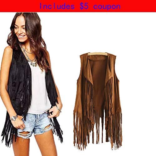 - Sinzelimin Clearance!! Women Faux Suede Ethnic Sleeveless Tassels Fringed Vest Open Front Kimono Cardigan (Khaki, S)
