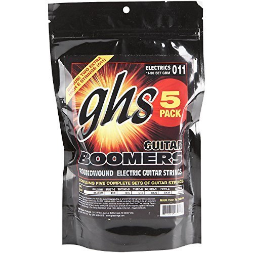 Accessories Ghs (GHS GBM-5 Guitar Boomers Electric Guitar Strings - .011-.050 Medium 6-pack)