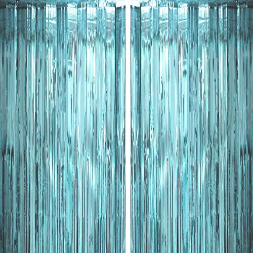 Blue Tinsel Foil Fringe Curtains Under The Sea Baby Shower Birthday Photo Backdrops Wedding Happy New Years Christmas Party Decor Photo Booth Props Backdrops -