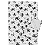 Roostery Kids Black and White Geometric Octopus Ocean Animals Tea Towels Octopus - Black and White by Andrea Lauren Set of 2 Linen Cotton Tea Towels