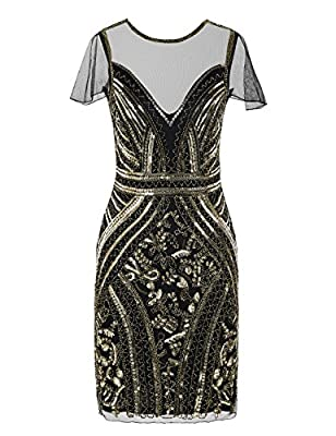 Kayamiya Women's Flapper Dresses Sequins Art Deco Cocktail Gatsby Dress