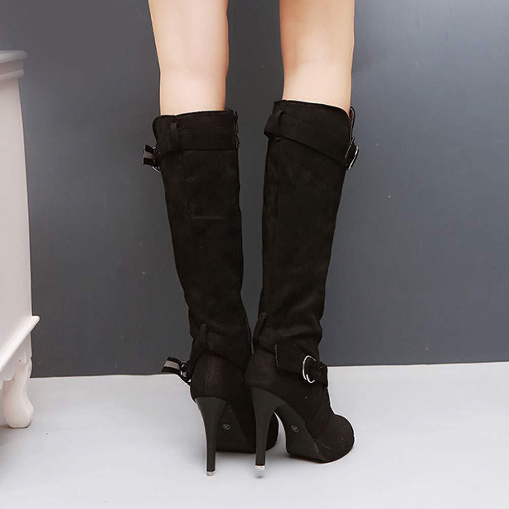 5c50e5a092ae8a BaZhaHei Women Stretch Boots Ladies Shoes Buckle Strap Roman Platforms High  Heels Knee Boots Martin Long Boots Slip-On Shoes Women Zipper Boots Outdoor  ...