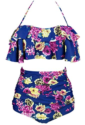 COCOSHIP Navy Blue & Pink White Cream Bloom Floral Chic Boho Flounce Falbala High Waist Bikini Set Chic Swimsuit Bathing Suit XL (Floral Cream Pink)
