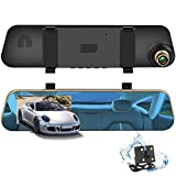 """Dash Cam,4.3"""" LCD 1080P HD Car Video Recorder Mirror Dash Cam Rear View Mirror with Front and Rear Camera,140 Degree,G-Sensor,Loop Recording,Motion Detection Driving Recorder"""