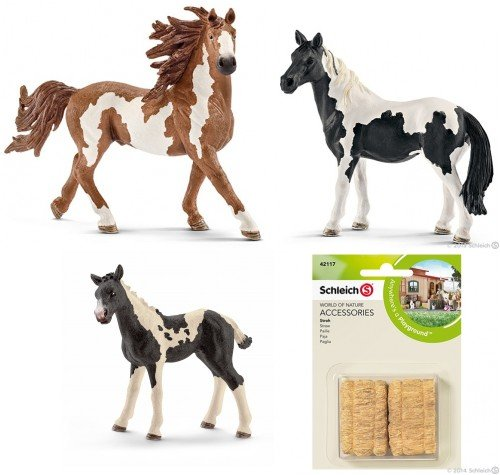 SCHLEICH Pinto Horse Family of 3 Horses (13794, 13795, 13803) with a Straw Set (42117) Bagged and Ready to Give! Ships Priority