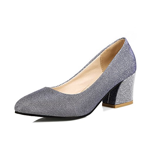 Pointed Kitten Women's Silver Pumps Pull On Toe WeiPoot Heels Shoes Solid v5Yqdx87w