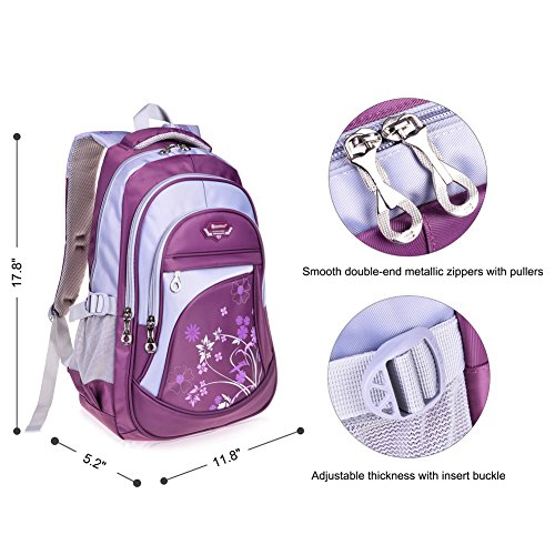 Vbiger Girl's & Boy's Backpack for Middle School Cute Bookbag Outdoor Daypack (Purple 1) by VBIGER (Image #4)