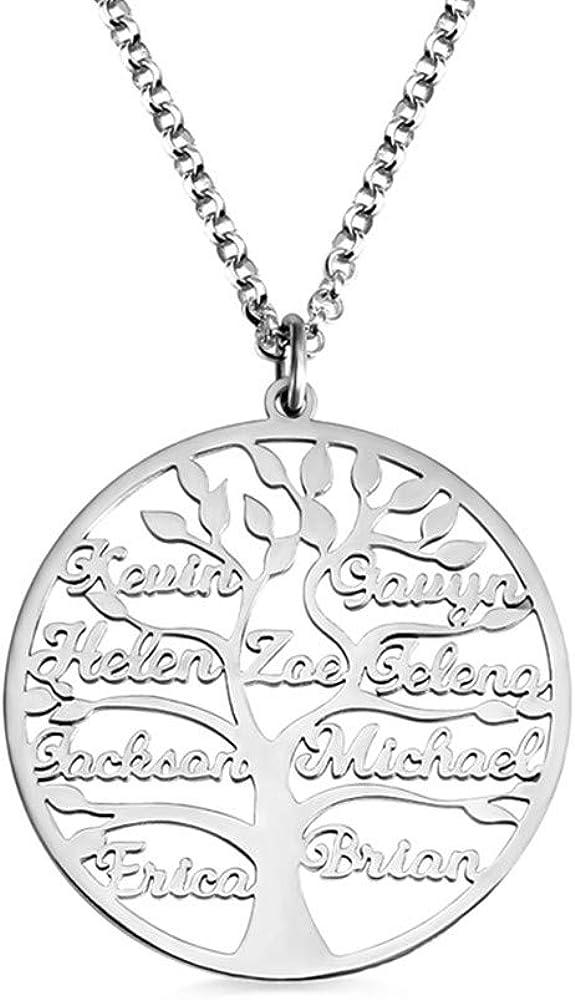 Collar con Nombre Personalizado | Plata esterlina 925 Regalo Familiar Colgante para Mujer | Collar Tallado Collar de Cadena de Plata Regalo conmemorativo