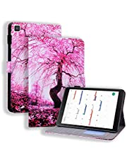 """Miagon Slim Case for Samsung Galaxy Tab A8.0 T290/T295/T297 {8""""},Stand Case Cover with Pencil Holder Magnetic/Card Slots PU Leather TPU Bumper Protective Case,Cherry Blossoms"""