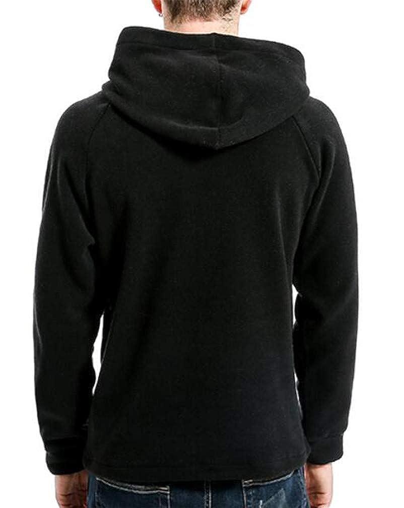 Hajotrawa Mens Classic Flannel Toggle Pocket Pullover Hooded Sweatshirts