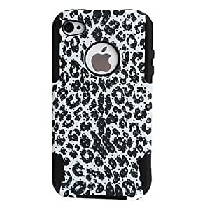 Leopard Pattern Lagging Silicone and PC Case for iPhone 4 and 4S (Black)