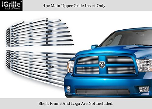 (APS Compatible with 2009-2012 Dodge Ram 1500 Pickup Stainless Steel Billet Grille Grill Insert #S18-C31666D)