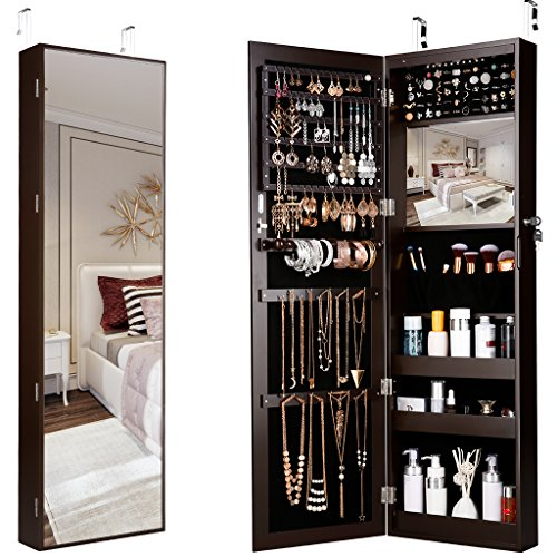 LANGRIA 10 LEDs Wall Door Mounted Jewelry Armoire Full-Length Mirror Cabinet Organizer with Spacious Storage, Mirror Size 13.5 in W x 46 in H, Brown (Pool Ikea Furniture)