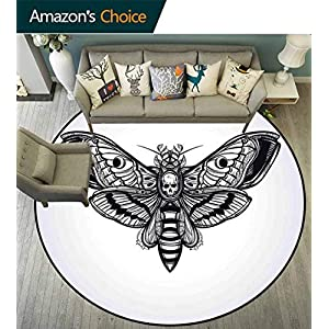 Skull Round Rug for Kids,Dead Moth with Skull Face in Gothic Grunge Style Dark Butterfly Inner Self Journey for Hallway,Black White,D-63
