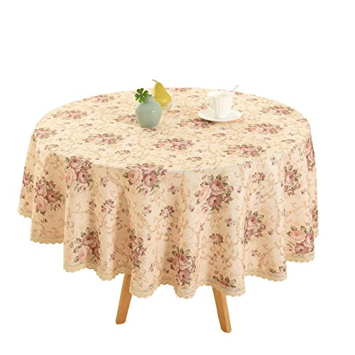 "Vintage Flower Decorative 55"" Round Linen Tablecloth by HIGHFLY - Printed Pattern Washable Table cloth Dinner Kitchen Home Decor - Multi Colors & Sizes"