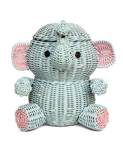 G6 COLLECTION Large Elephant Rattan Storage Basket With Lid Bin Home Decor Hand Woven Shelf Organizer Cute Handmade…