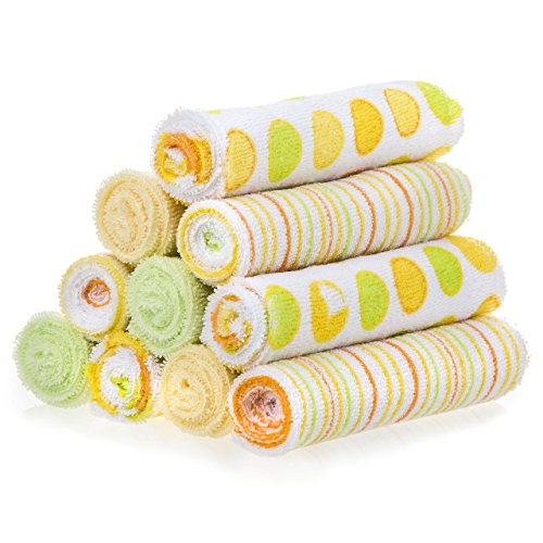Spasilk 10 pack Soft Terry Washcloth, Yellow (Frog Terry)