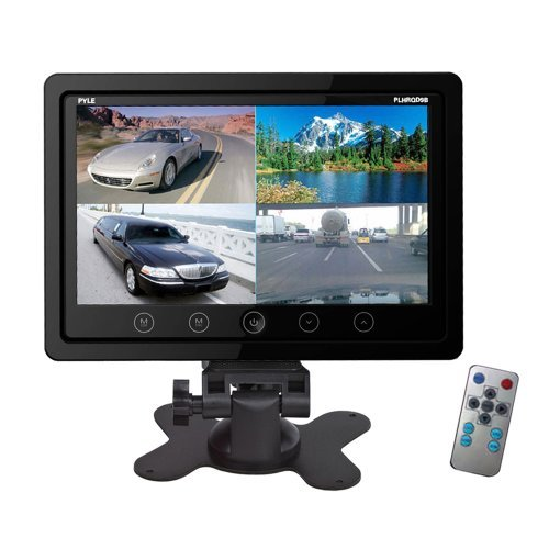 Pyle PLHRQD9B 9-Inch Quad TFT/LCD Video Monitor with Headrest Shroud,BNC and RCA Connectors – Black
