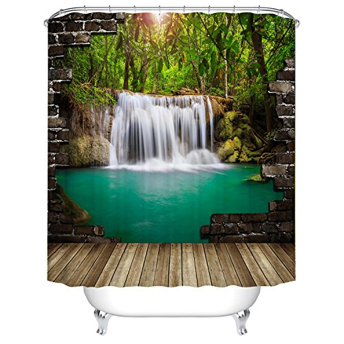 Fangkun 3D shower curtain waterfall Wall Landscape art painting curtains - Waterproof, Soap, and Mildew resistant - Polyester Fabric Bathroom Set - 12pcs Shower Hooks (72 x 72 inches, YL060#)