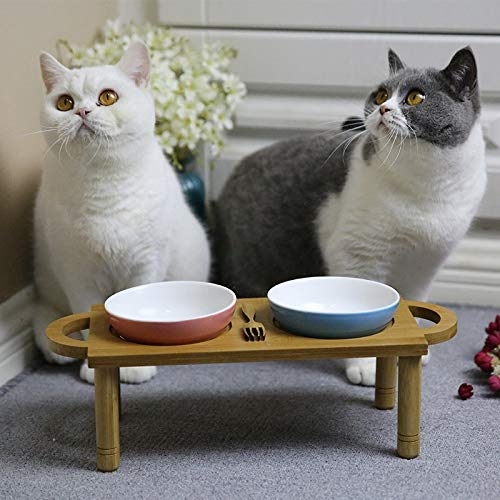 A SGXDM Pet bowl pet solid wood dining table cat bowl dog bowl ceramic bowl pet shelf bowl easy to clean multi-function easy to clean, A