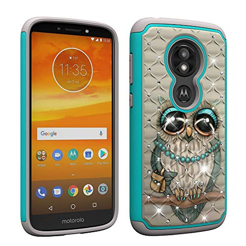 NVWA for Motorola Moto E5 Play Case,Moto E5 Cruise Case Heavy Duty Tough Dual Layer 2 in 1 Rugged Rubber Hybrid Hard Plastic Soft TPU Back Protective Cover Coloured Drawing Bling Diamond Gray Owl ()
