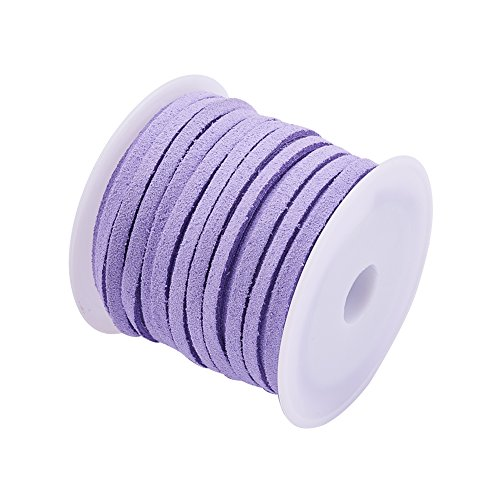 (Pandahall Faux Leather Lace Beading Thread 3mm Faux Suede Cord String Velet 5 Yards with Roll Spool, Lilac)