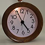 Zinnor Alarm Clock, Wooden Alarm Clock for Living Room Decoration - Classic Small Round Silent Light Silent Retro Alarm Clock for Kids - Brown Wood Design