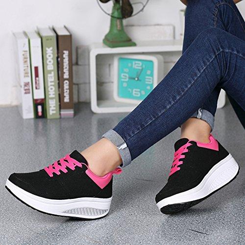 Sneaker Walking Toning Womens Fitness Shoes Leather Ausom Stylish Black Up Platform Shape Wedges 6n1qXzfx