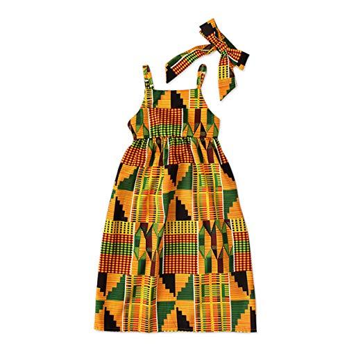 Dress For Kid Girl (YOUNGER TREE African Dresses for Girls Toddler Kids Print Sleeveless Romper Bodysuit Boho Clothes + Hair Band (Orange#1,)