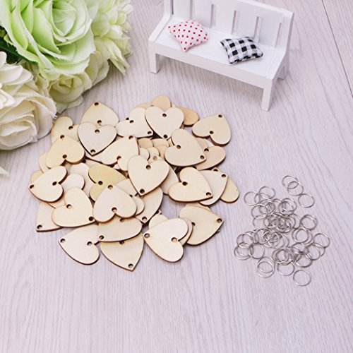 Metal Tags Embellishments - Simdoc 50Pcs Heart Shape Wooden Board Tags with 50 Pcs Metal Ring,Wooden Heart Cutout Embellishments with 2 Holes for DIY Birthday Board Calendar Craft Party Xmas Ornaments