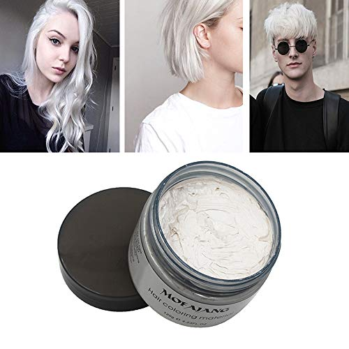 MOFAJANG White Hair Color Wax, Natural Hairstyle Wax 4.23 oz, Temporary Hairstyle Cream for Party, Cosplay, Halloween, Daily use, Date, Clubbing (White) ()