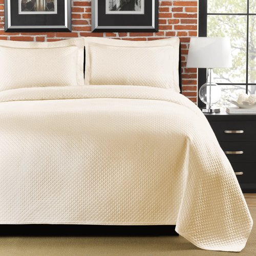 - LaMont Home Diamante Coverlet, Queen, Ivory