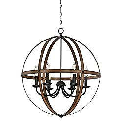 Westinghouse 6333600 Stella Mira Six-light Indoor Chandelier Finish, Barnwood & Oil Rubbed Bronze